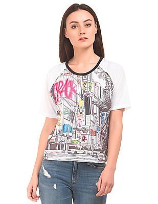 SUGR Graphic Print Raglan Sleeve Top