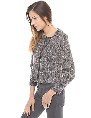 Arrow Woman Patterned Weave Full Sleeve Jacket