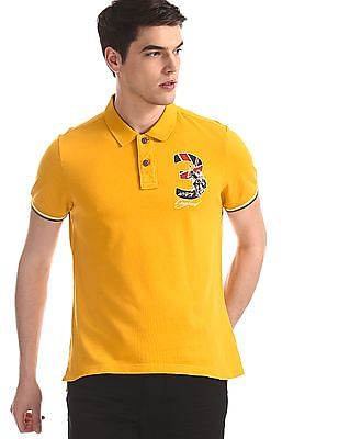 U.S. Polo Assn. Denim Co. Yellow Tipped Sleeve Hem Pique Polo Shirt