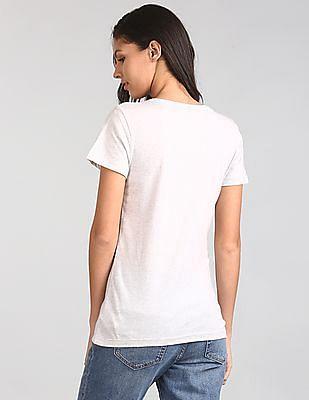 GAP Women Grey Short Sleeve Jewel Tee