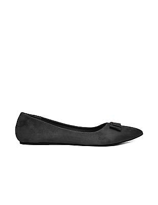 SUGR Pointed Toe Suedette Ballerinas