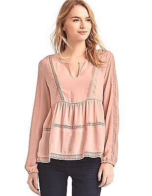 GAP Women Pink Long Sleeve Lace Top
