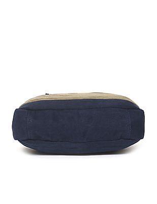 U.S. Polo Assn. Blue Colour Block Canvas Laptop Bag