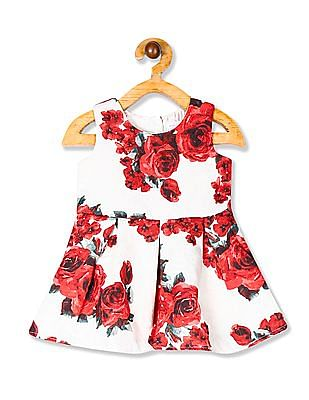 The Children's Place White Toddler Girl Sleeveless Floral Print Fit And Flare Dress