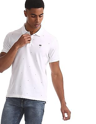 Arrow Sports White Printed Cotton Stretch Polo Shirt