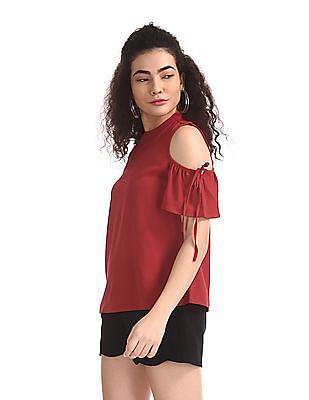 SUGR Red Band Neck Cold Shoulder Top