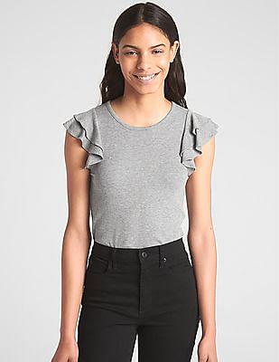GAP Women Grey Short Ruffled Sleeves Ribbed Top