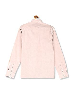 Excalibur Beige Mitered Cuff Patterned Shirt