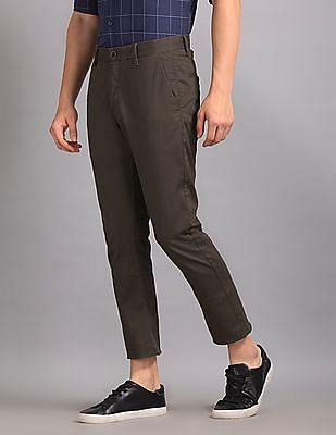 True Blue Brown Slim Fit Cotton Stretch Trousers