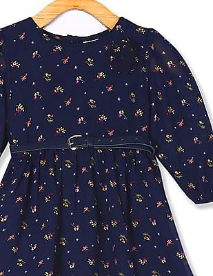 Donuts Blue Girls Printed Fit And Flare Dress