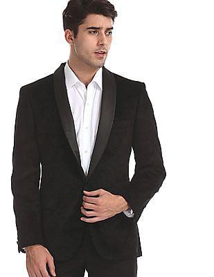 Arrow Black Body Tailored Regular Fit Paisley Print Blazer