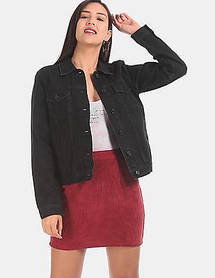 GAP Women Black Dark Wash Denim Jacket