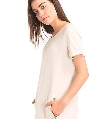 GAP Women White Roll Sleeve Sweatshirt Dress