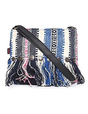 SUGR Blue Fringe Patterned Sling Bag