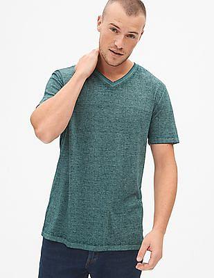 GAP Green Burnout V-Neck T-Shirt