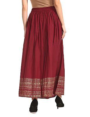 Bronz Red Printed Hem Maxi Skirt