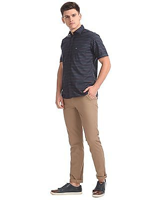 Arrow Sports Spread Collar Striped Shirt