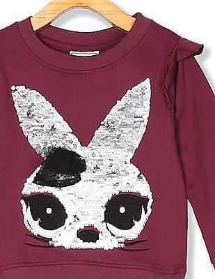 Cherokee Girls Ruffle Trim Sequin Graphic Sweatshirt