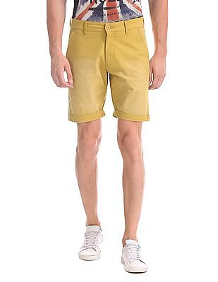 Flying Machine Solid Woven Shorts