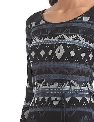 U.S. Polo Assn. Women Contrast Print Knit Bodycon Dress