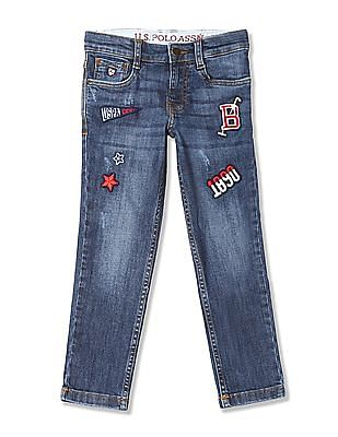 U.S. Polo Assn. Kids Boys Appliqued Stone Wash Jeans