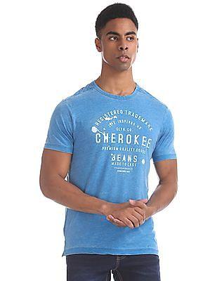 Cherokee Blue Crew Neck Brand Print T-Shirt