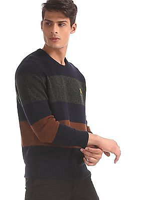 U.S. Polo Assn. Navy And Brown Striped Crew Neck Sweater