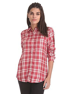 Aeropostale Floral Embroidered Check Shirt