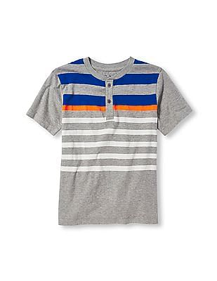 The Children's Place Boys Grey Short Sleeve Striped Button-Placket Tee