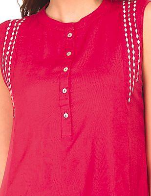 Bronz Mandarin Collar Embroidered Tunic