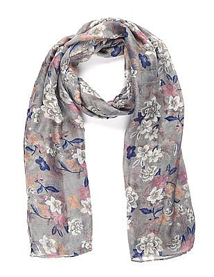 SUGR Grey Floral Print Stole
