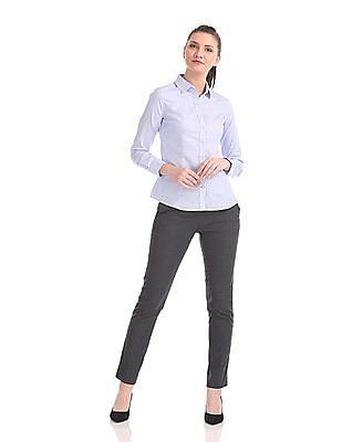 Arrow Woman Regular Fit Patterned Weave Trousers