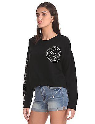 Aeropostale Drop Shoulder Crop Sweatshirt