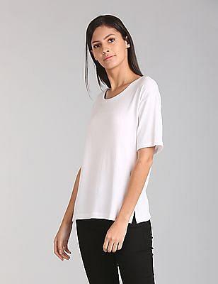 GAP Women White Softspun Scoop Neck T-Shirt