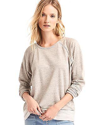 GAP Women White Ladder-Trim Pullover Sweatshirt