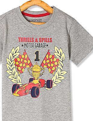 Cherokee Grey Boys Printed Cotton T-Shirt