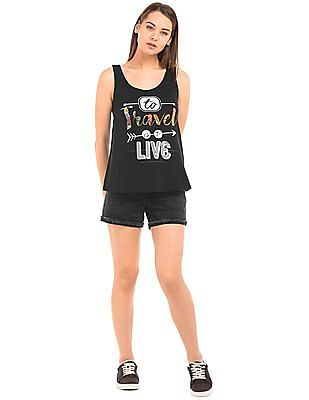 Flying Machine Women Graphic Print Cotton Tank Top