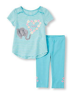The Children's Place Toddler Girl Blue Short Sleeve Animal Nature Top And Leggings Set