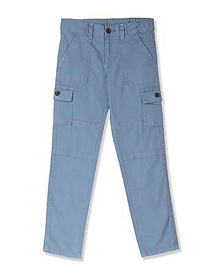 Cherokee Blue Boys Solid Cotton Stretch Cargos