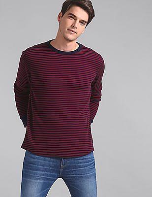 GAP Red Long Sleeve Waffle Stripe T-Shirt