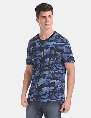GAP Blue Camo Print Brand Logo T-Shirt
