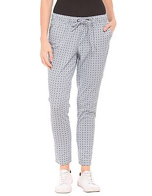 U.S. Polo Assn. Women Tapered Fit Printed Pants