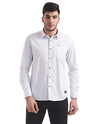 Flying Machine Spread Collar Printed Shirt