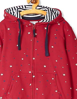 U.S. Polo Assn. Kids Boys Star Print Zip-Up Sweatshirt