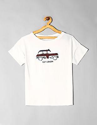 GAP White Girls Flippy Sequin Graphic T-Shirt