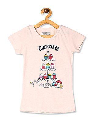 Cherokee Beige Girls Cupcake Print Crew Neck T-Shirt