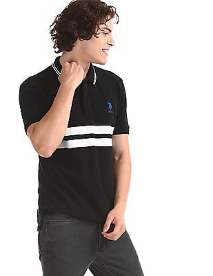 U.S. Polo Assn. Black Embroidered Logo Stripe Chest Polo Shirt