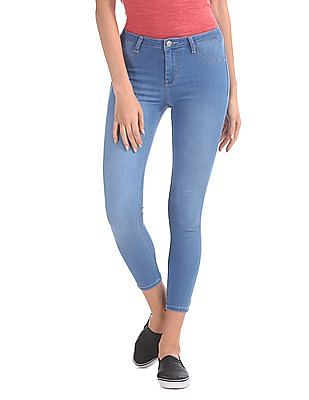 Flying Machine Women Mid Rise Cropped Jeggings