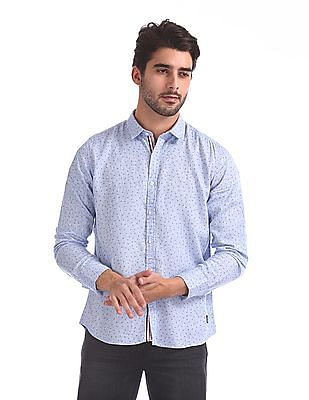 Flying Machine Heart Printed Long Sleeve Shirt