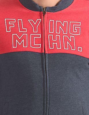 Flying Machine Colour Block Zip Up Sweatshirt